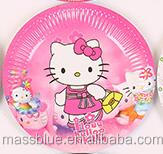 Pink color paper plate wtih a lovely cute cartoon picture