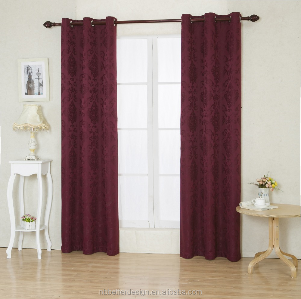LATEST CURTAINS DESIGNS 2016 WITH FLOWER DESIGN BURGUNDY JACQUARED BLACKOUT CURTAIN