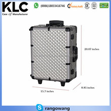 Professional 2 Wheels Rolling Makeup Artist Cosmetic Train Case with Lights Mirror and Stand , Silver
