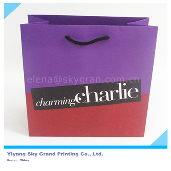 Grade of eco-friendly sack Paper Bag, customized charming Charlie