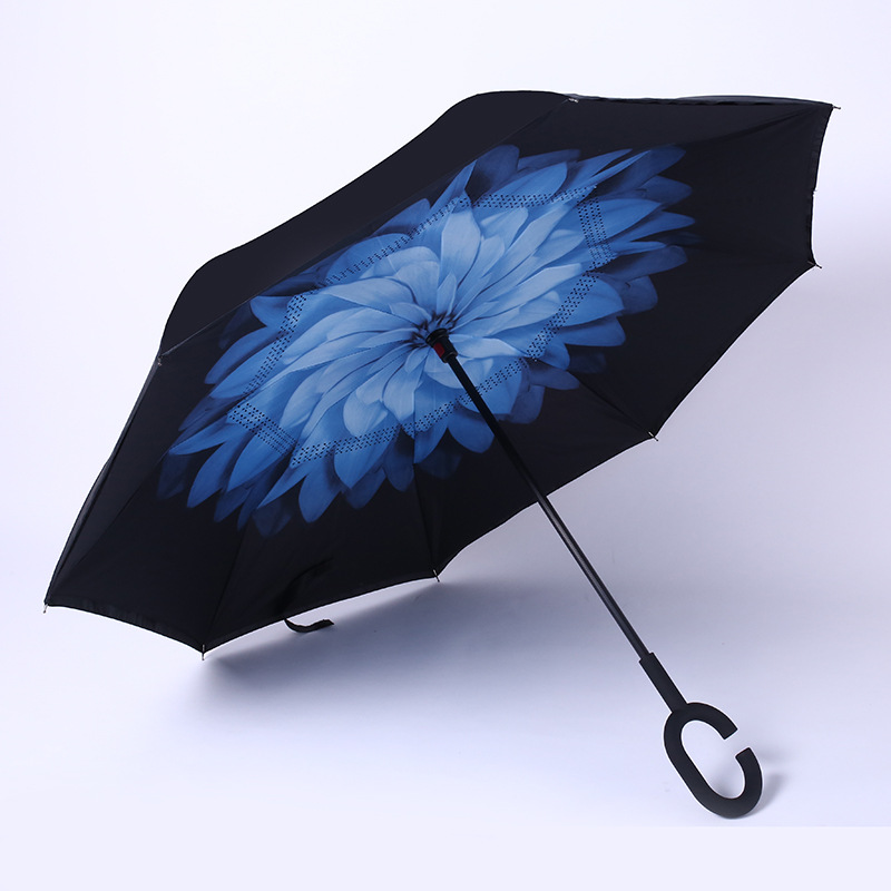Multi-color Double layer Windproof Full Print Flower C-hook handle inverted umbrella