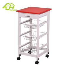 New Type Push Serving Mobile Food Wooden Vegetable Kitchen Cart