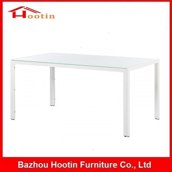 High Quality Modern Fashion Metal Legs Rectangular Glass Top 4 Seater Dining Table Designs