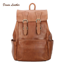 wholesale men leather bag vintage travel school anti theft backpack