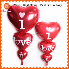 Wholesale Three heart I love you Foil Baloon Big Heart Shape Balloon For Wedding Decoration