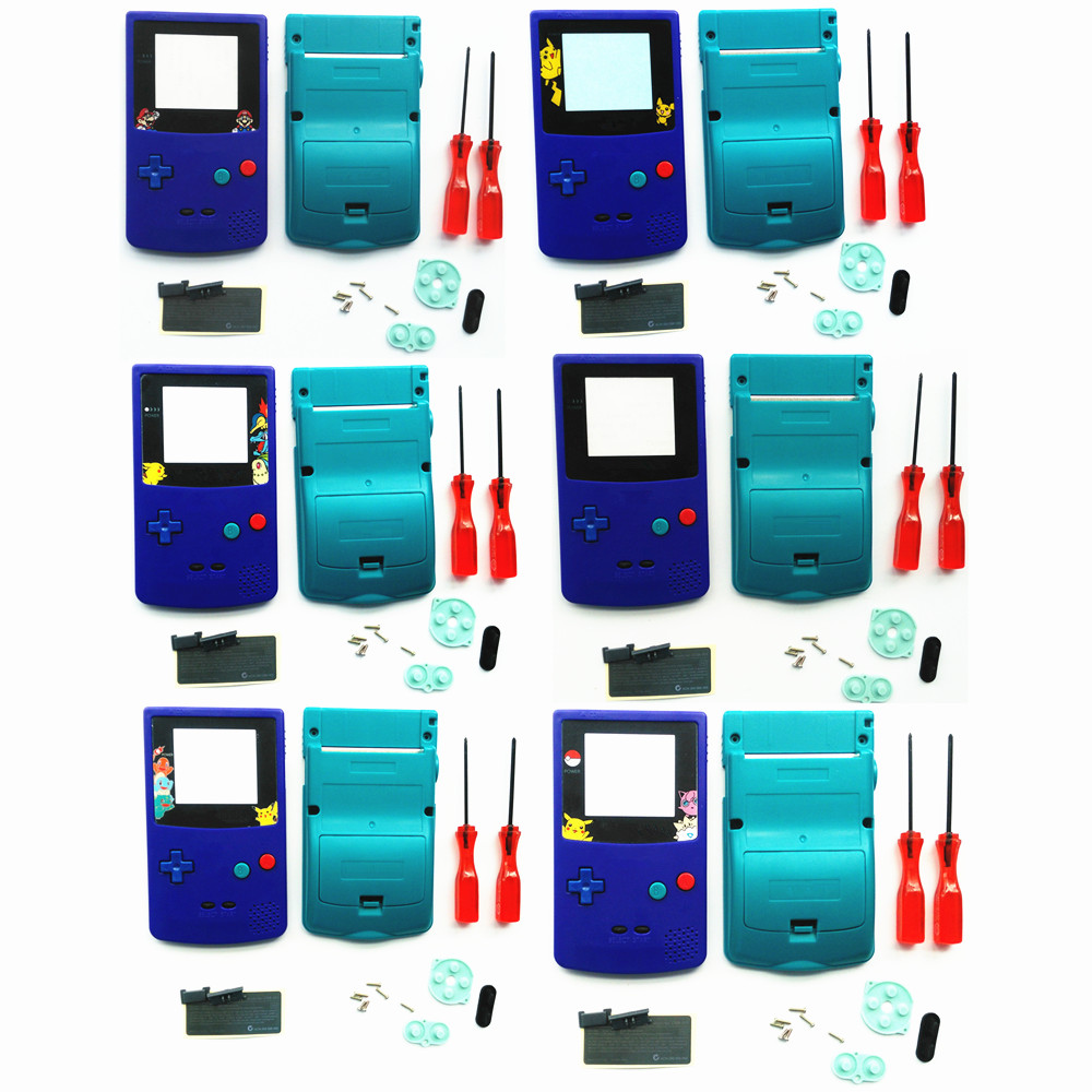 For GBC Pokemon Limitd Version Blue & Teal Green Housing Shell For GBC Housing Case Pack
