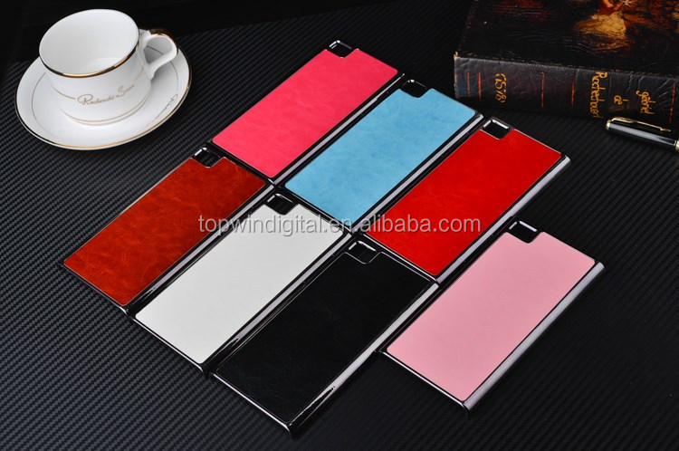 Fashionable Crazy Horse Pattern Metal+PU Smart Cell Phone Case For Xiaomi M3