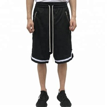 Men Gym Sports Polyester Mesh Drop Crotch Track Shorts With Zip Pockets