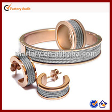 Wholesale Fashion Woman Stainless Steel Rose Gold Italian Women Costume Jewelry Set