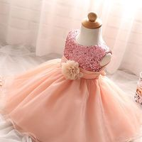 2016 Flower Girl Christening Wedding Party Pageant Sequin Dresses for Girls Baby First Communion Toddler Child Bridesmaid