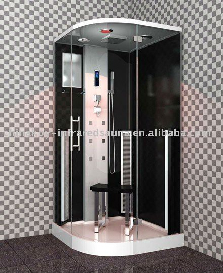Corner tempered glass sauna steam shower room