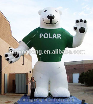 advertising animal inflatable polar bear with logo printing