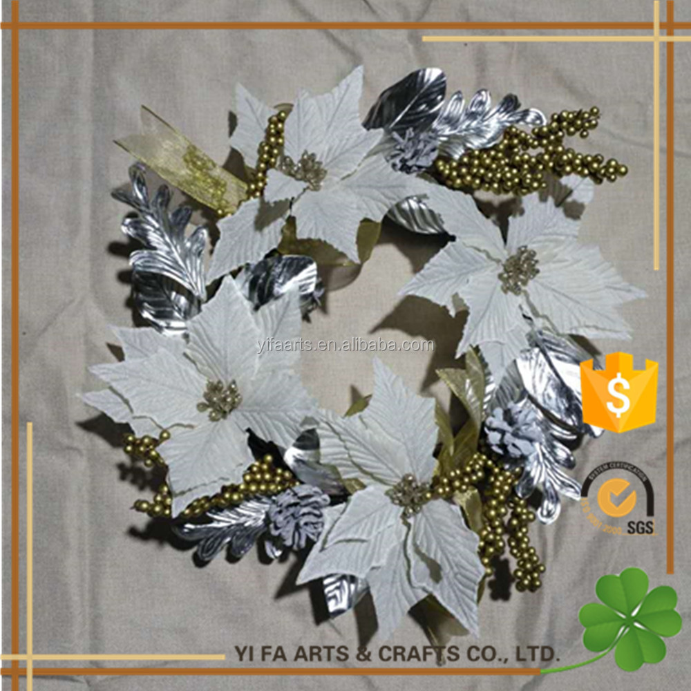 "20"" Artificial Christmas White Flower wreaths"