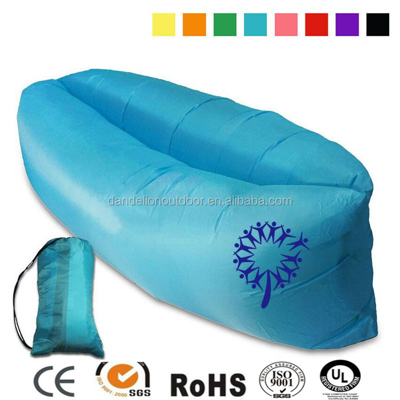 fast inflatable lazy bag air sofa light weight lay bag with pockets for camping beach bed