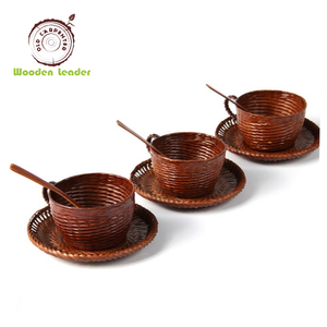 unique olive round decorative original bamboo weaving wood natural high footed rice bowl salad bowl form China factory