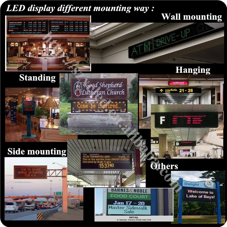 P4.75-16x64RGB(33x10x2cm) full color Bluetooth app/USB serial port Hand-held airport pickup LED message placard sign