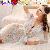 Sexy underware for delicate eyelash lace three-point with transparent smock for OEM