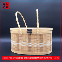 natural bamboo folding fruit basket with lid