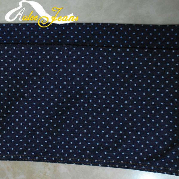 Aufar small round dots cotton print denim fabric