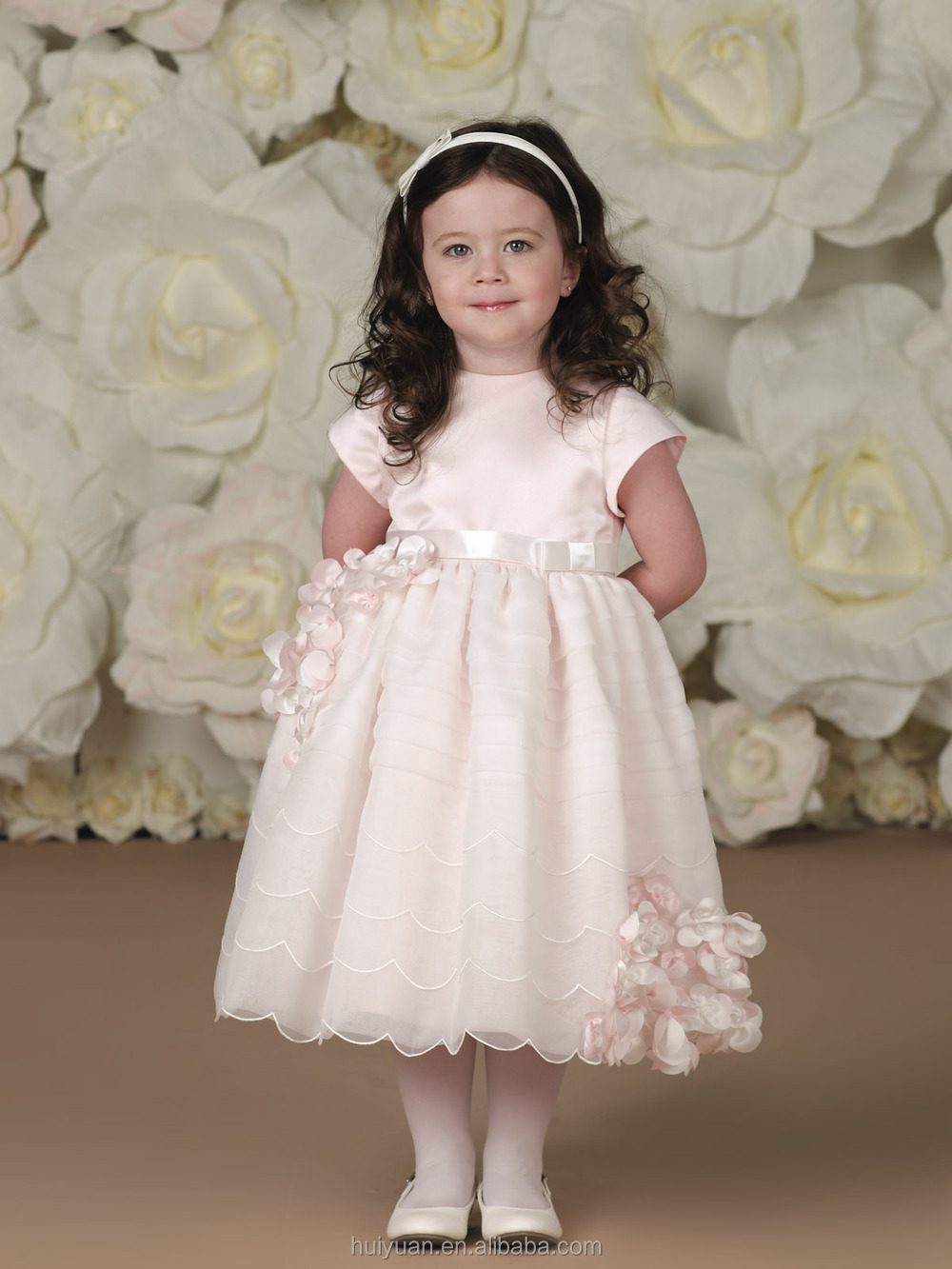 new cap sleeve satin flower girls birthday party dresses