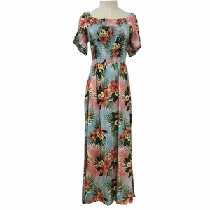 ladies' long flower printing maxi dress for woman