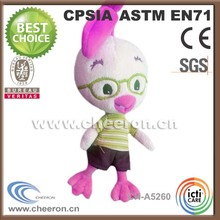 Promotion products lovely plush chicken toy with clothes and glasses