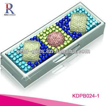 High Quality Promotion Bling Rhinestone Diamond Pill Box With Lock Wholesale Supplier|Factory|Manufacturer