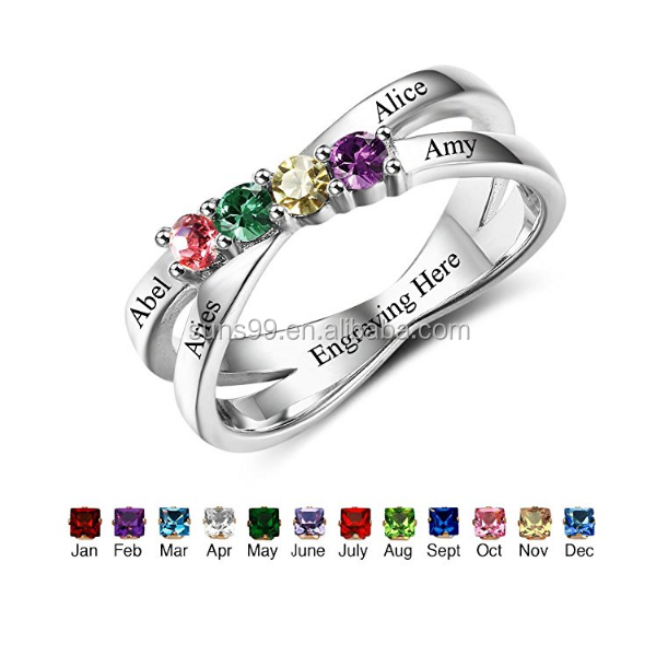 Unique Design Your Own Mothers Rings With Children Sumilated Birthstones Names Family Jewelry Mother's Day Gift