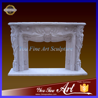 Home Decorative Carved Stone Fireplace Mantel