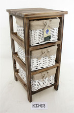 White Wicker Lined Basket 3 Drawer Wooden Chest Storage Home Furniture