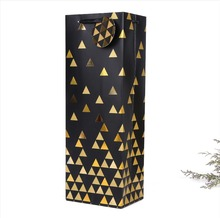 Wine gold printing foil stamping black paper bottle bag