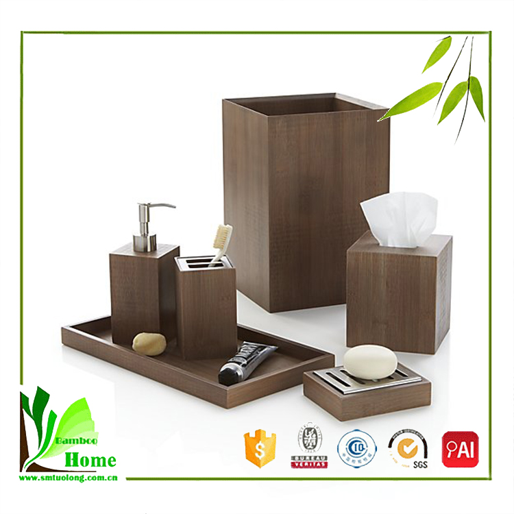 Good price hotel bamboo bathroom accessory set