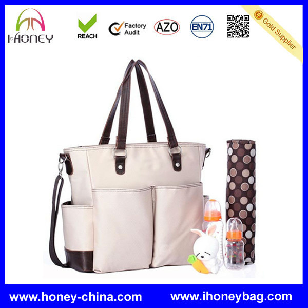 Hot sell Waterproof PVC Lining Simple Designer Handbag Style for Nappy Tote Diaper Bag