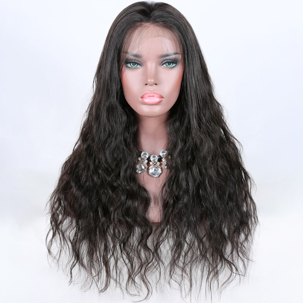 Qingdao hair factory hot selling 22 inch natural wave lace frontal 360 wig for black women