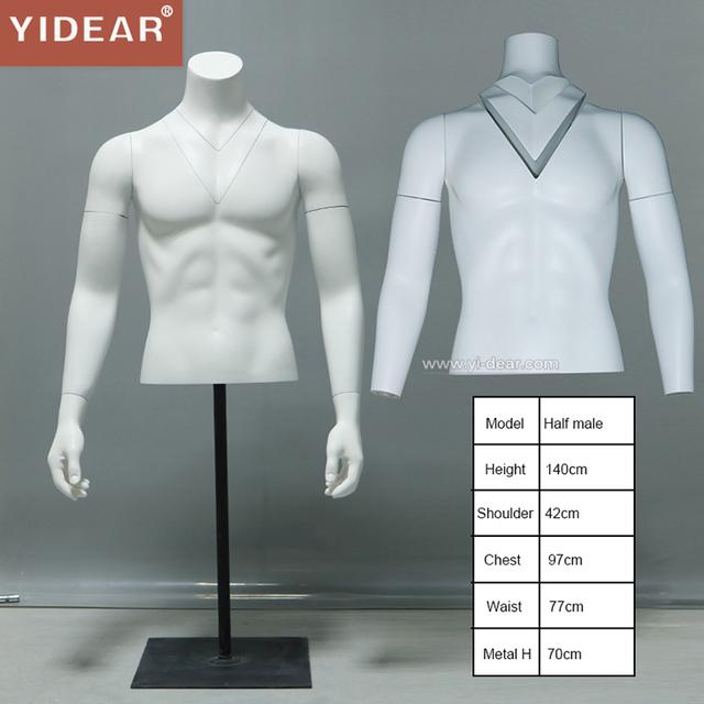 Yidear half upper body photograph purpose male 3D invisible removable men fiberglass mannequin props