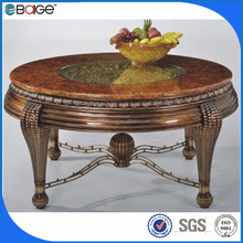D-1801 good quality chunky formal wood and stone dining table