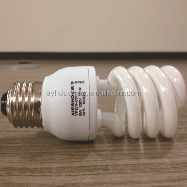 China Fluorescent Lamps Pin Type Twist Tube 9W Pure Triphosphor CFL Lamp Bulbs E27 B22 Base Cell Half Spiral Energy Saving Lamp
