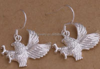 925 silver plated animal bird shape eagle dangle hook earring for women