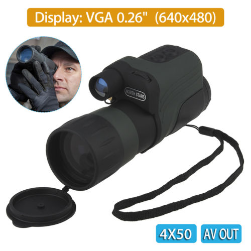 NVDT-<strong>M01</strong>-4X50PRO+IR Infrared Night Vision Monocular Scope 150m 4X50 Zoom AV T2