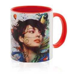 2015 Guangzhou White Coated Mug Sublimation Inner and Handle Color Mug for Sublimation Wholesale
