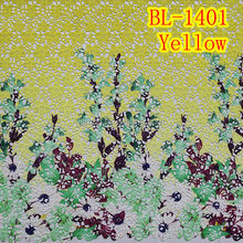 5 yards alibaba cord lace fabric embroidery Women's Fashion Fabric yellow color BL-1041