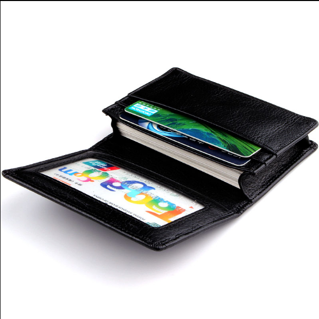 Black personalized pu leather business man card holder