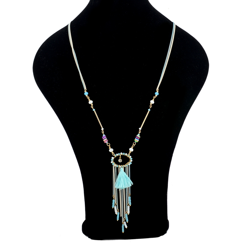 Long way fashion jewelry three color handmade colorful chain necklace, high quality crystal necklace tassel necklace three color