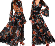 Sheer Bell sleeves Lace-up Back Petals On The Breeze Black Floral Print Dress Sexy Women Dresses