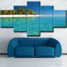 seaview Oil Canvas Painting 5 Pieces Group Wall Art Pictures