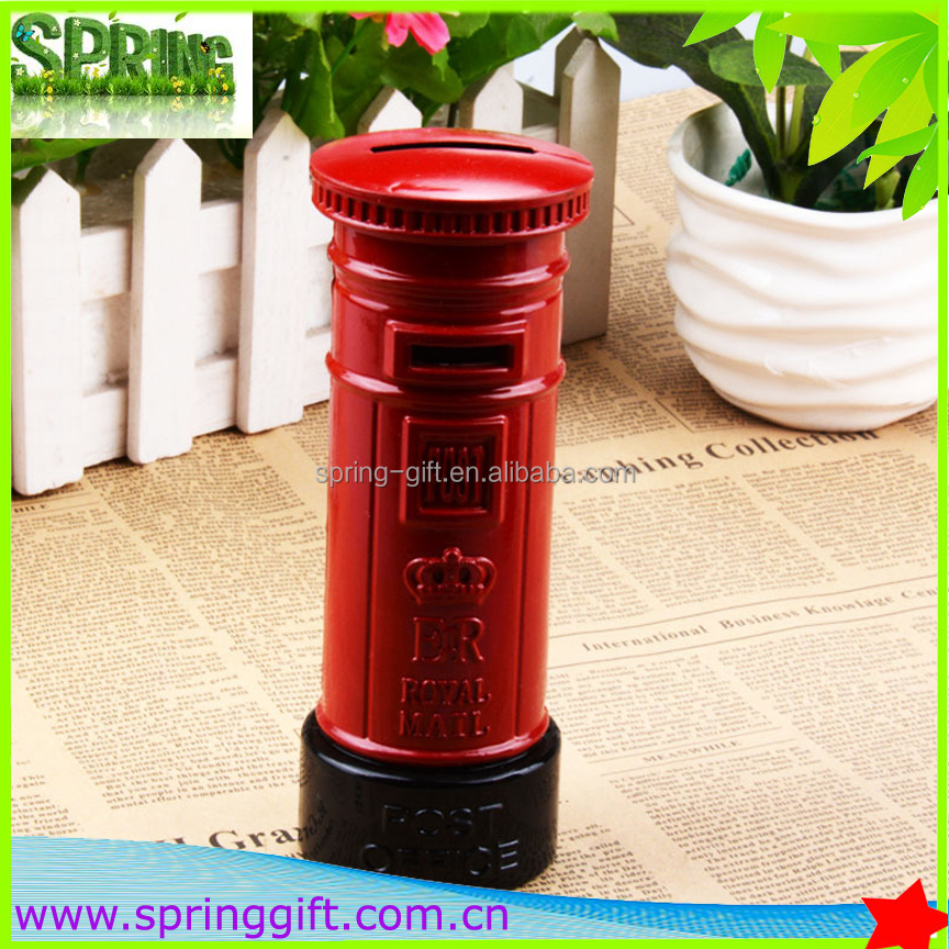 Metal crafts Creative Souvenir British Red Mailbox Shape Money Saving Piggy Bank Pot