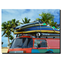 canvas picture painting of vintage car on the beach with surfboards