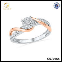 Rose gold plated 925 silver diamonds round cut promise ring fashion wedding ring jewelry