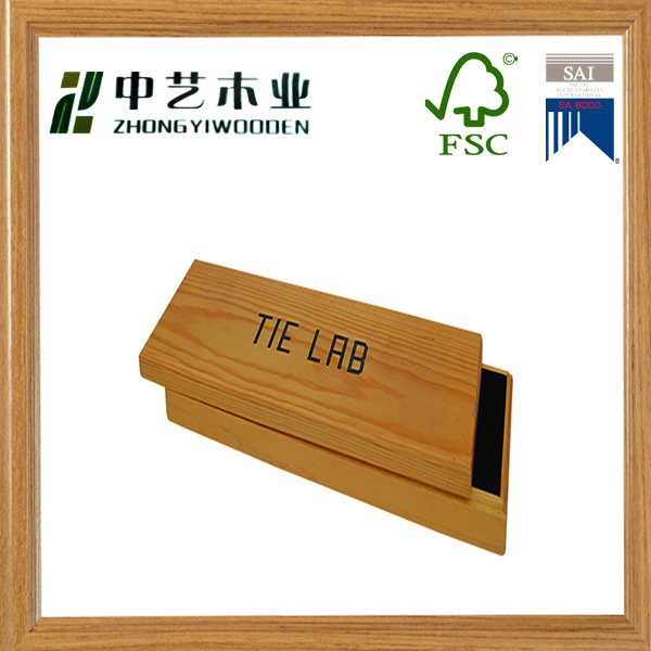 Made in china wooden factory handmade unfinished pine wooden tie lab box