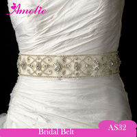 Retro Pearl And Rhinstone Beaded Bridal Sash Belt
